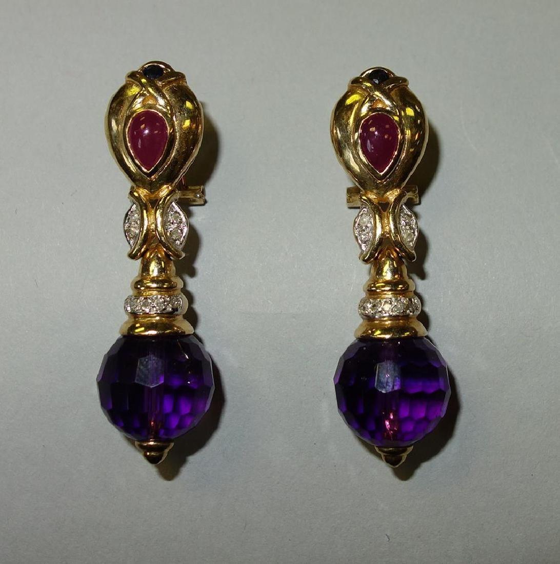 14K Gold, Amethyst, Ruby & Diamond Earrings