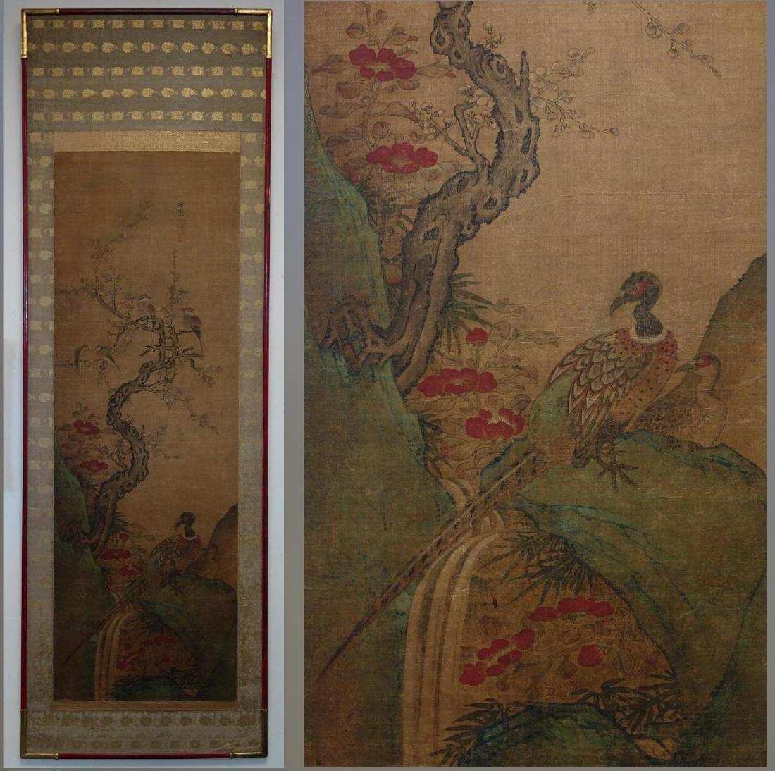 19thc Chinese Scroll Painting, Qing Dynasty Signed