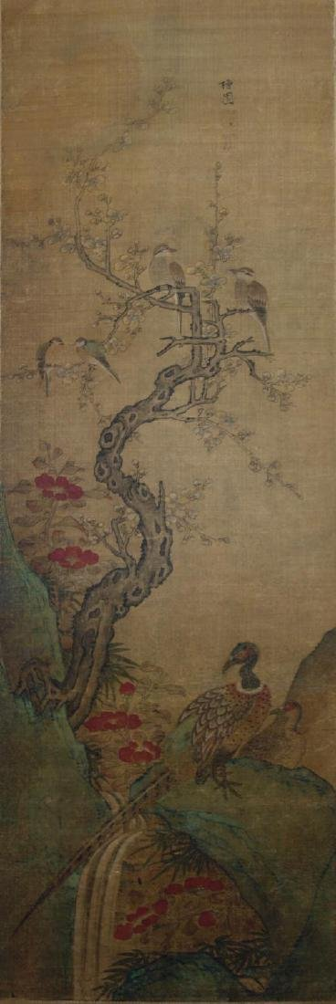 19thc Chinese Scroll Painting, Qing Dynasty Signed - 4