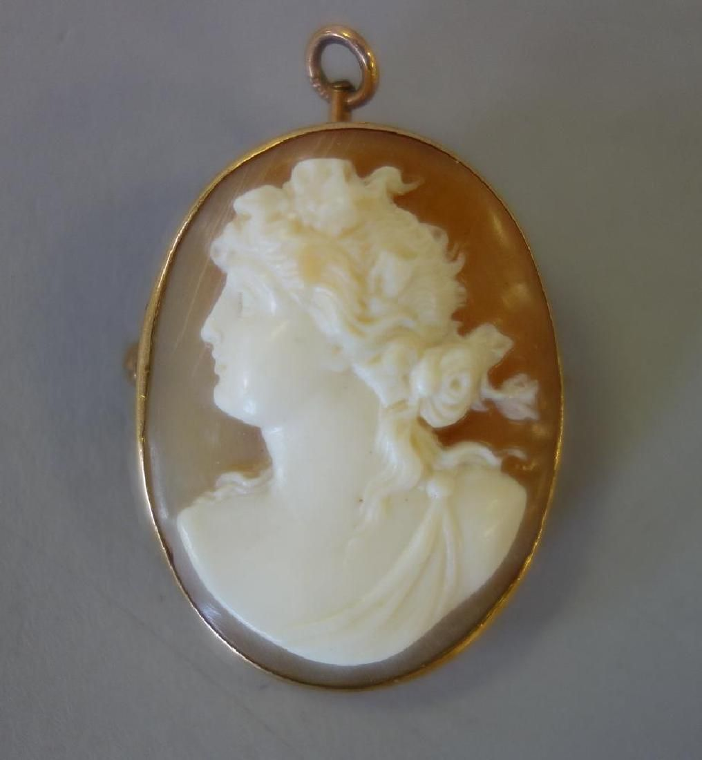 Antique 14K Gold Carved Shell Cameo Pendant Brooch