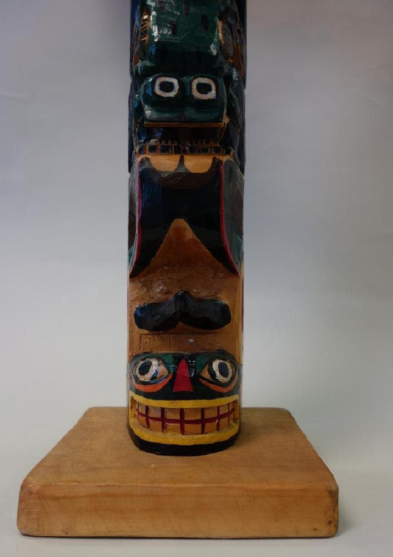Alex Julian Carved & Painted Wood Totem Pole - 4