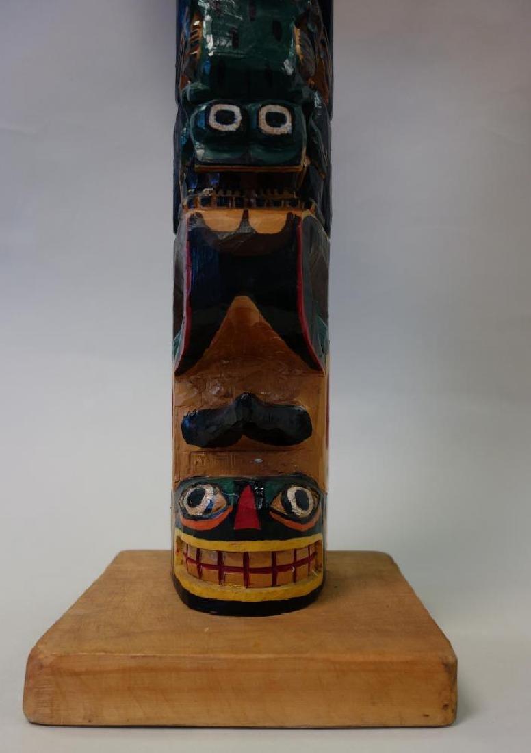 Alex Julian Carved & Painted Wood Totem Pole - 4
