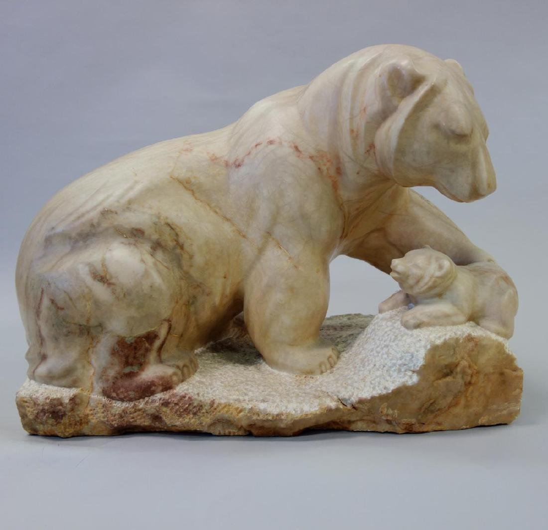 Carved Stone / Marble Sculpture, Tender Arctic, Sgnd MR