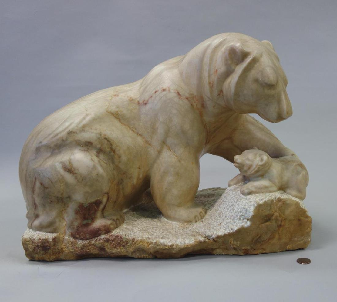 Carved Stone / Marble Sculpture, Tender Arctic, Sgnd MR - 2
