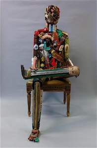 Leo Sewell (b-1945) Seated Man, Assemblage