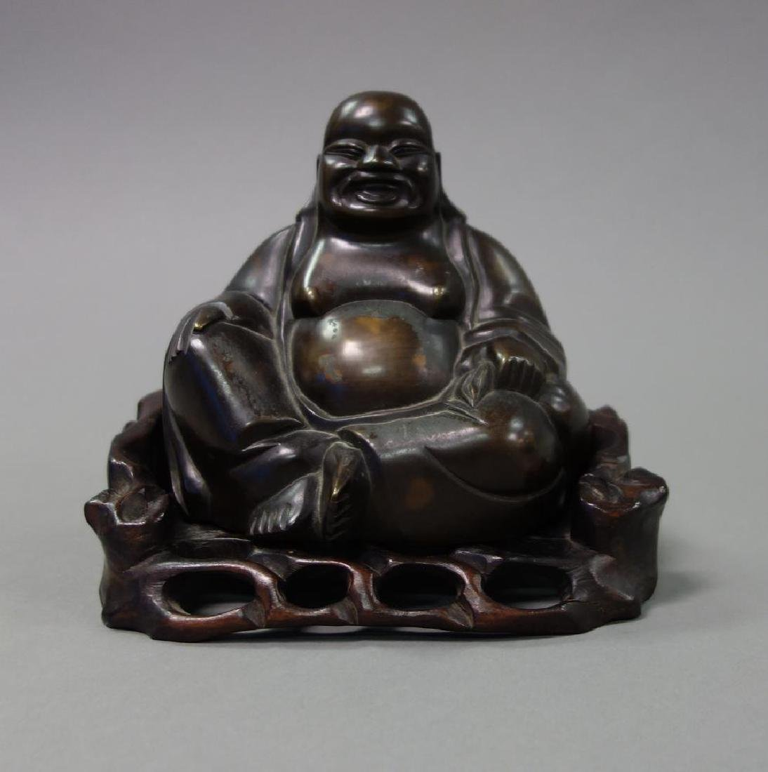 Chinese Bronze Hotei Laughing Buddha, Carved Stand