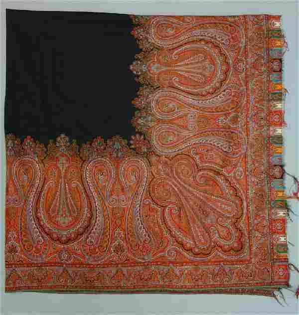 Scottish Woven Wool Paisley Shawl, Square Form,