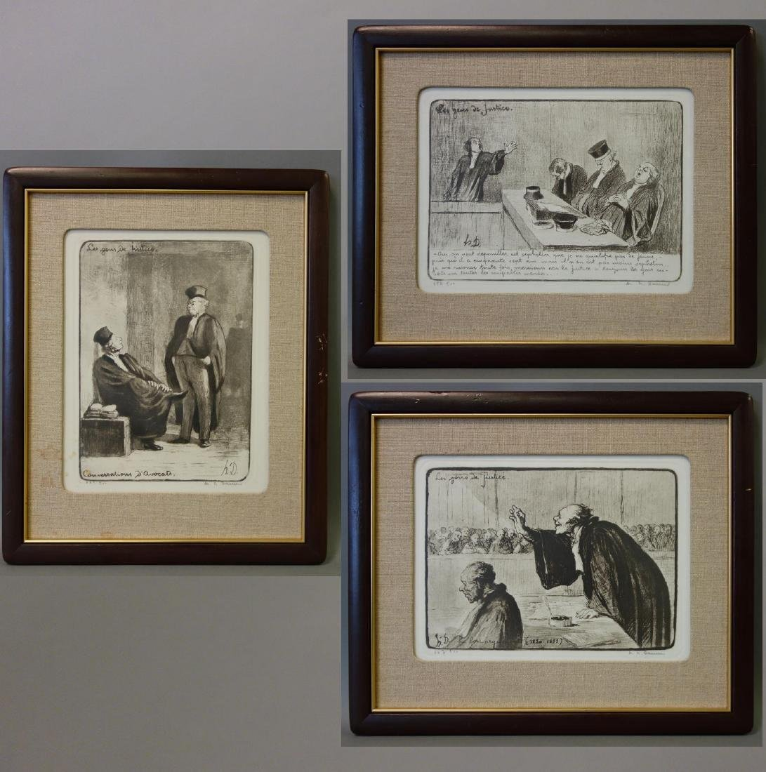 Honore Daumier (1808-1879) 3 Courtroom Lithographs