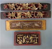 4 Chinese Carved  Painted Gilt Wood Panels