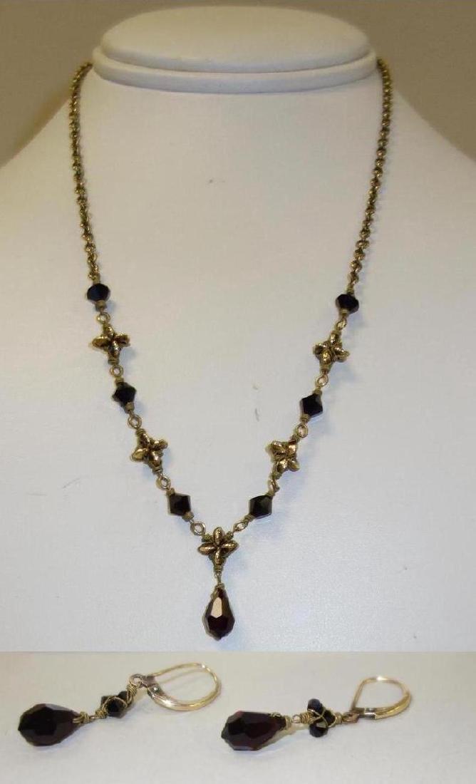 Victorian Garnet Necklace & Earring Suite