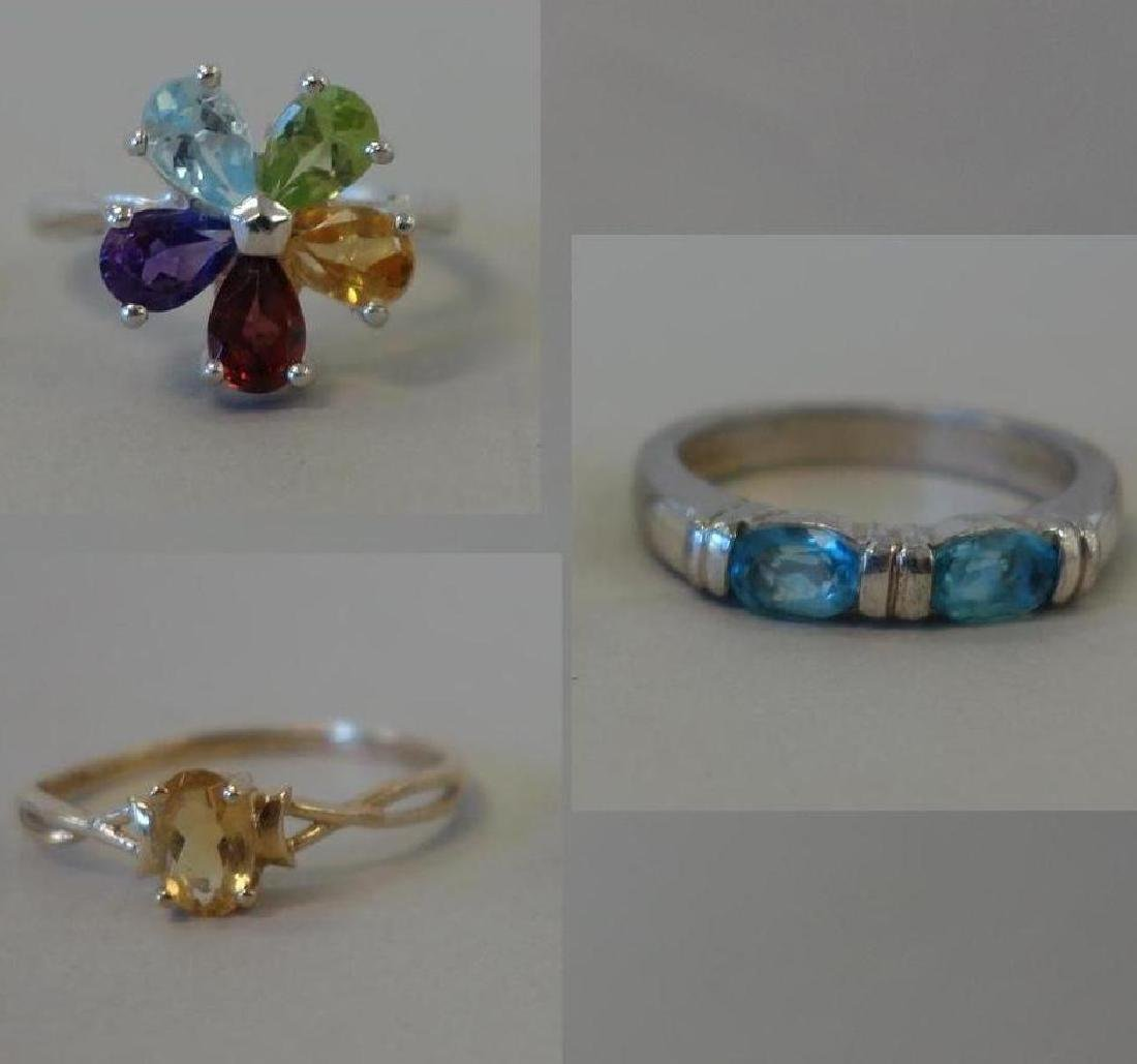 3 Ladies Multi Gemstone Rings