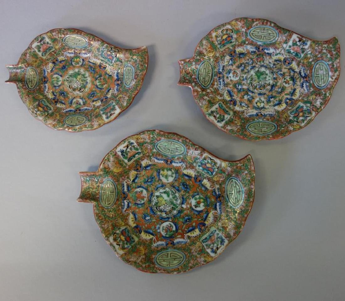 19thc Chinese Export, 3 Leaf Formed Dishes