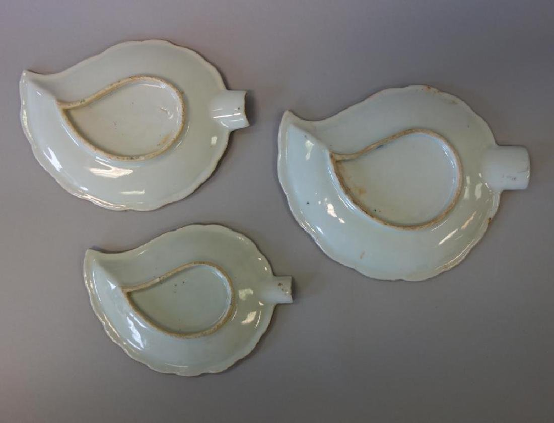 19thc Chinese Export, 3 Leaf Formed Dishes - 2