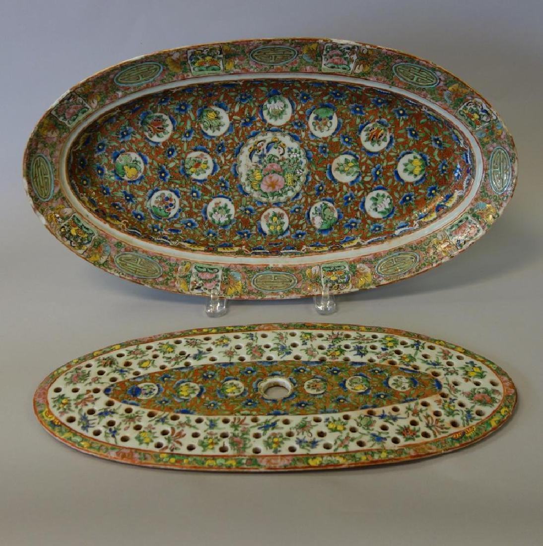 19thc Chinese Export, Fish Platter with Mazarin