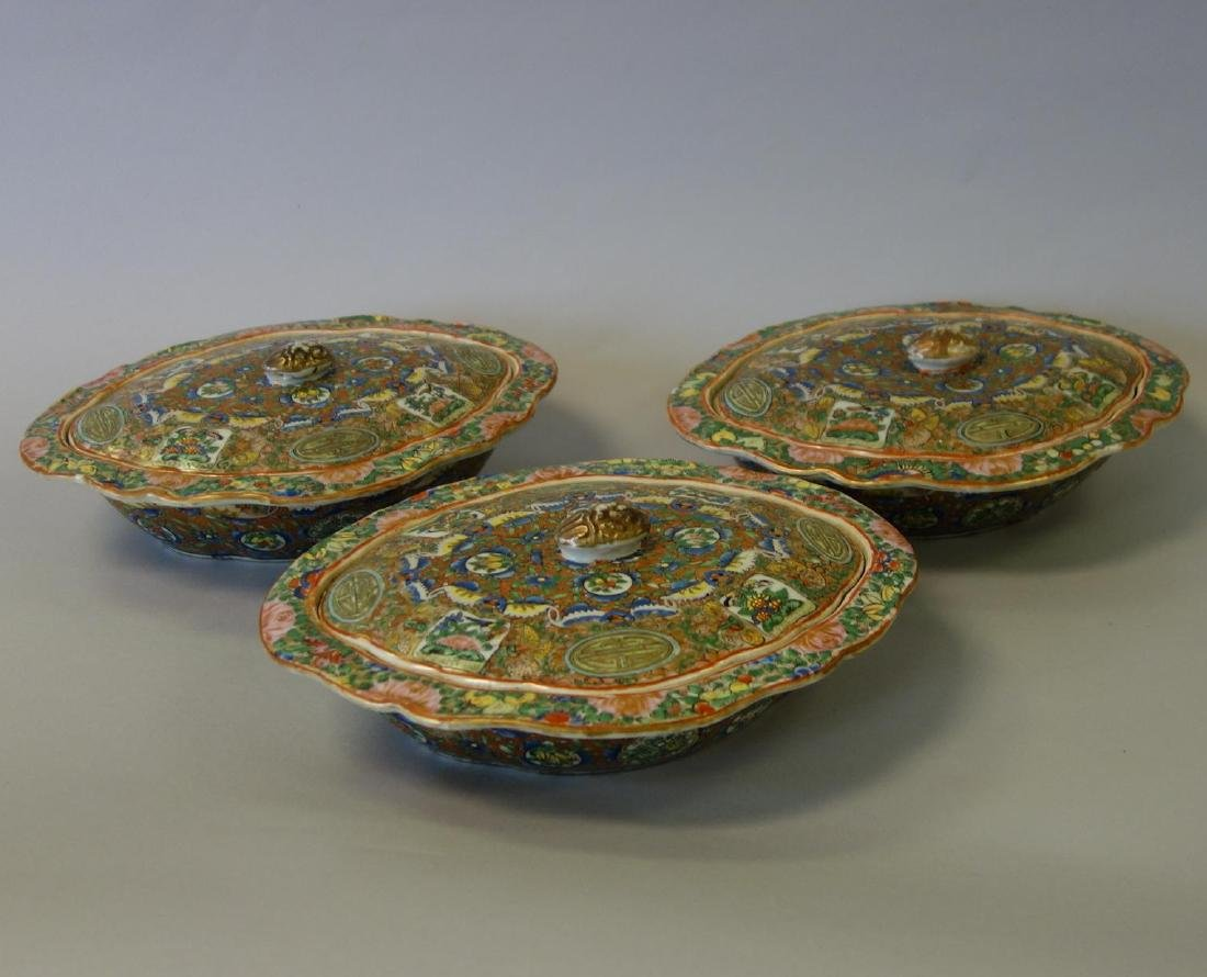 19thc Chinese Export, 3 Covered Vegetable Dishes