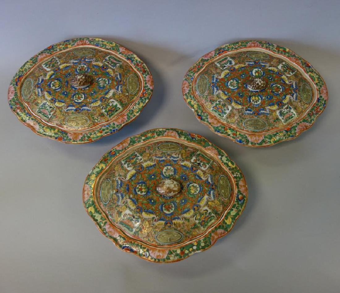 19thc Chinese Export, 3 Covered Vegetable Dishes - 2