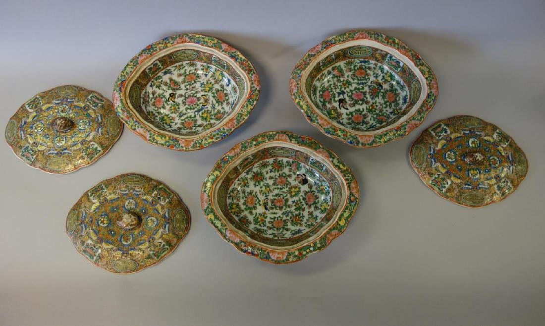 19thc Chinese Export, 3 Covered Vegetable Dishes - 4