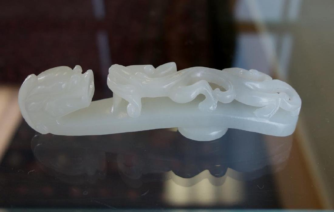 Chinese Carved White Jade Belt Hook