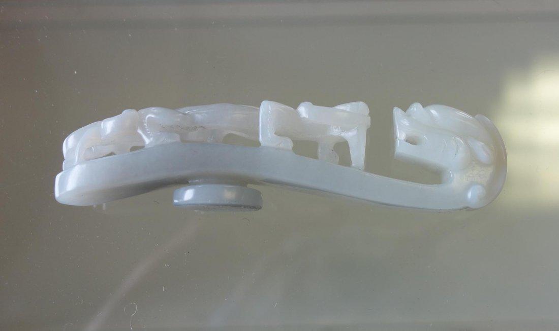 Chinese Carved White Jade Belt Hook - 4