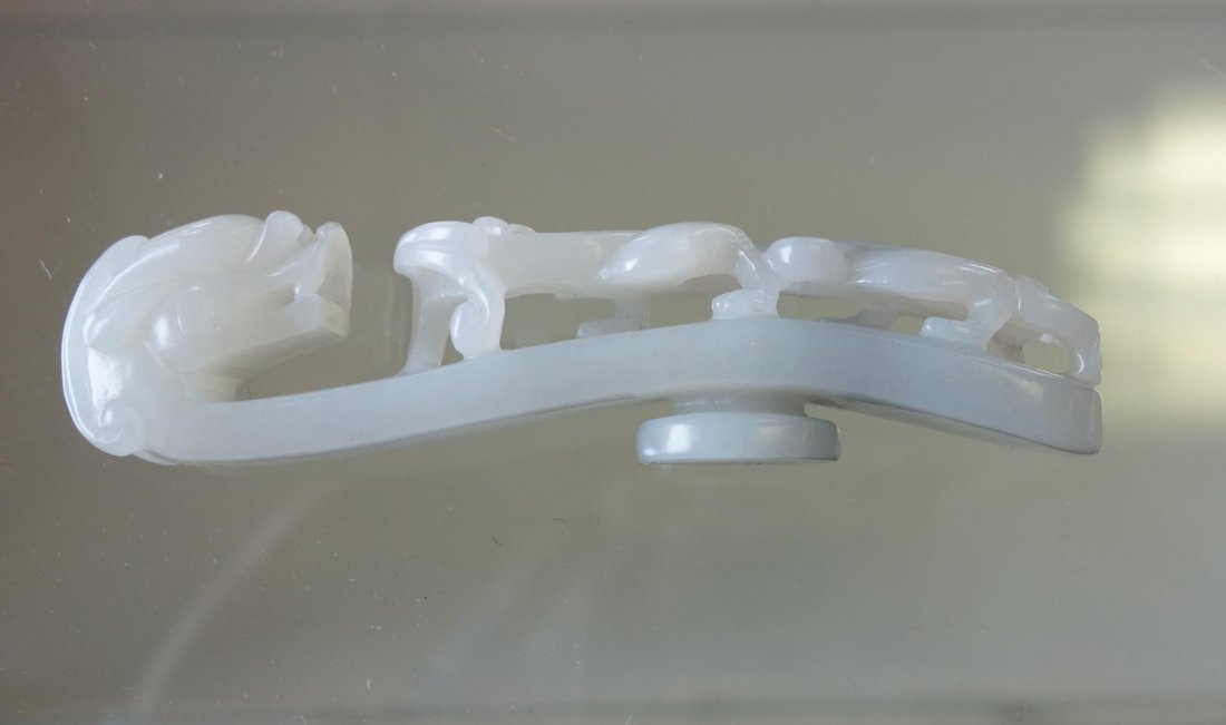 Chinese Carved White Jade Belt Hook - 5