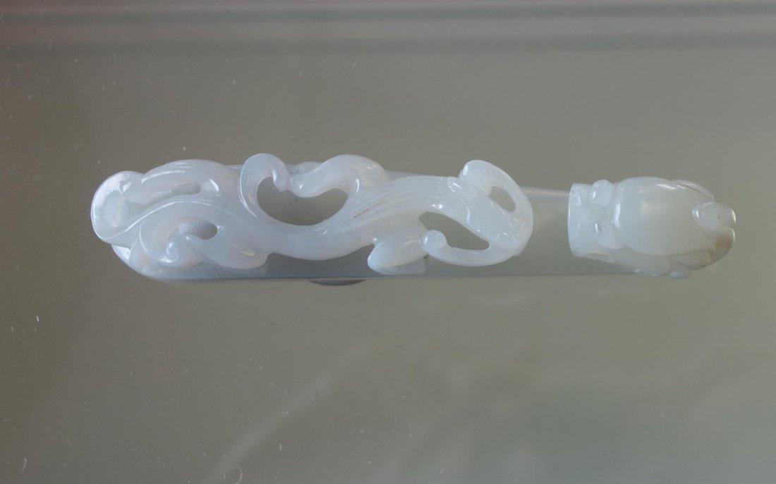 Chinese Carved White Jade Belt Hook - 6