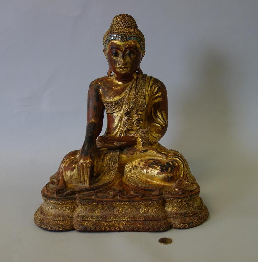 Large Burmese Carved Wood Sculpture of Buddha