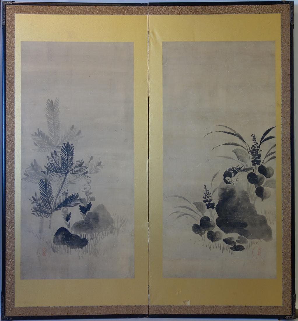 Japanese 2-Panel Folding Screen Painting, Signed
