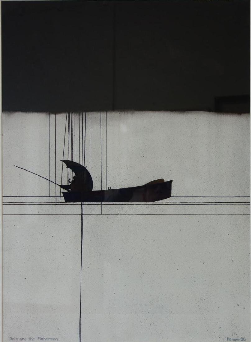 Art Hansen (b-1929) Watercolor, Rain & Fisherman