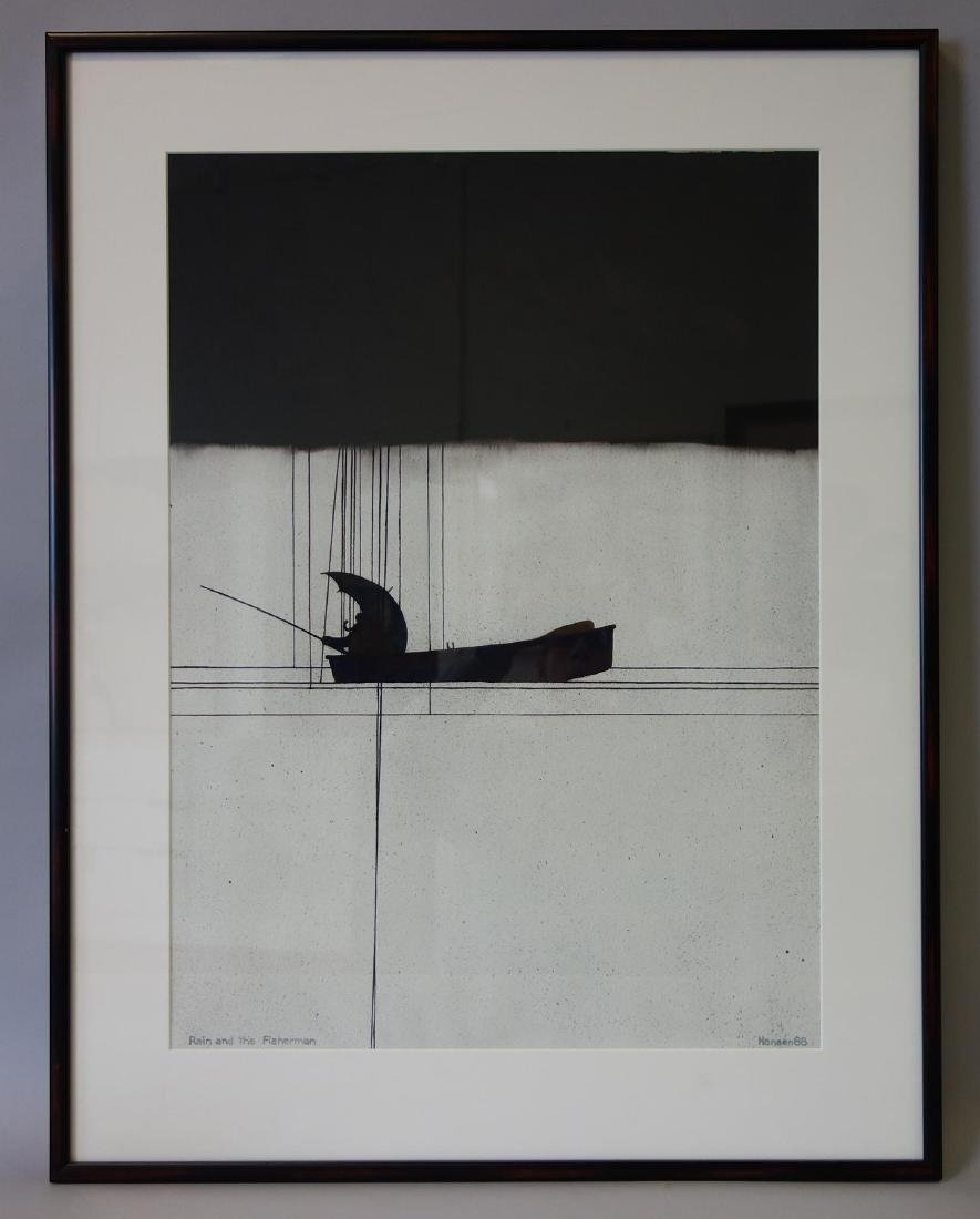 Art Hansen (b-1929) Watercolor, Rain & Fisherman - 2