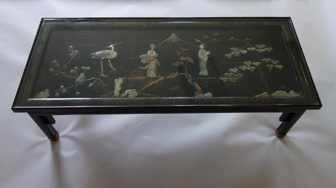 Chinese Lacquer, Gilt & Hardstone Coffee Table