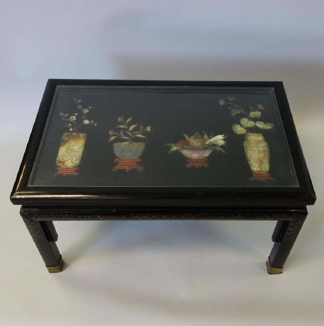 Chinese Lacquer, Gilt & Hardstone Diminutive Table