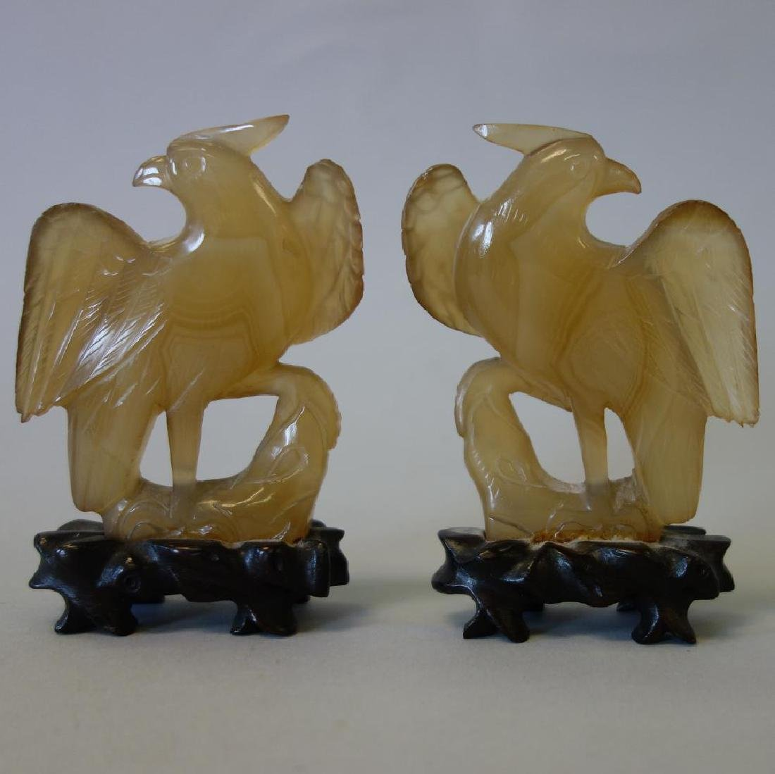 2 Chinese Carved Agate Phoenix