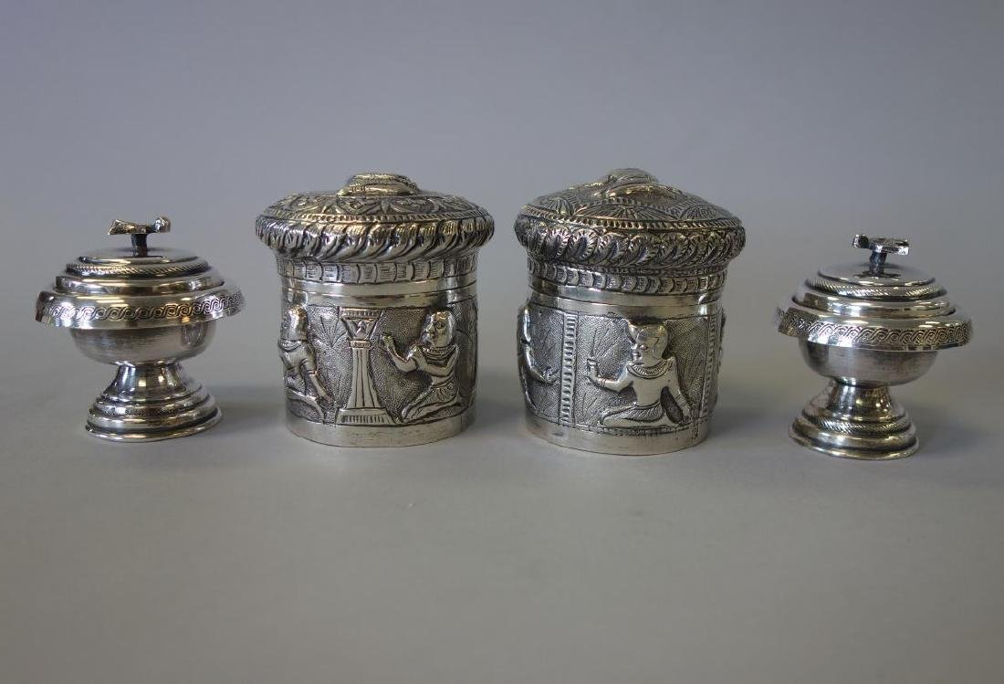 Indian Silver Tea Caddy / Canisters & Salts Egypt