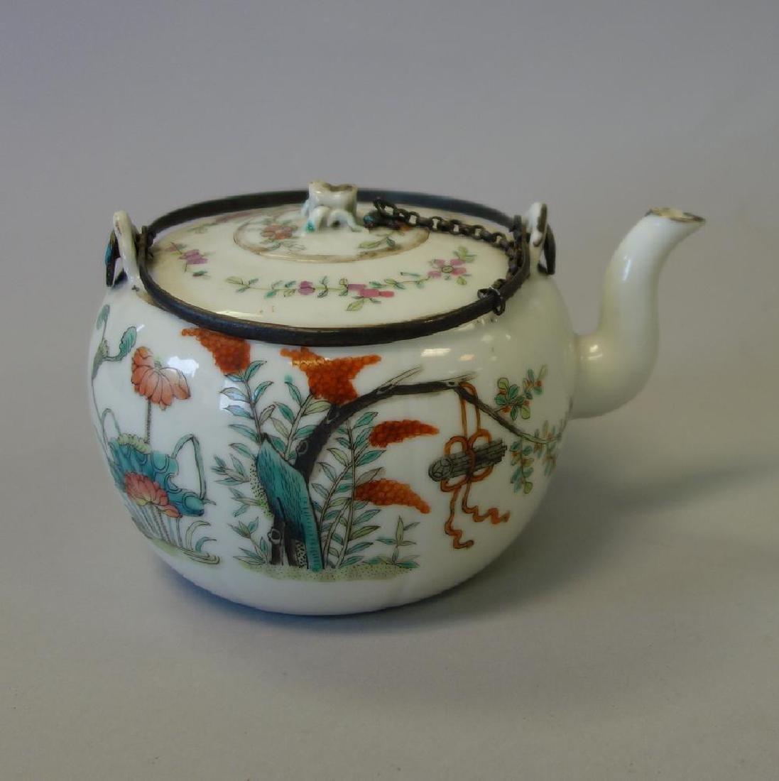 19thc Chinese Famille Rose Enamel Teapot