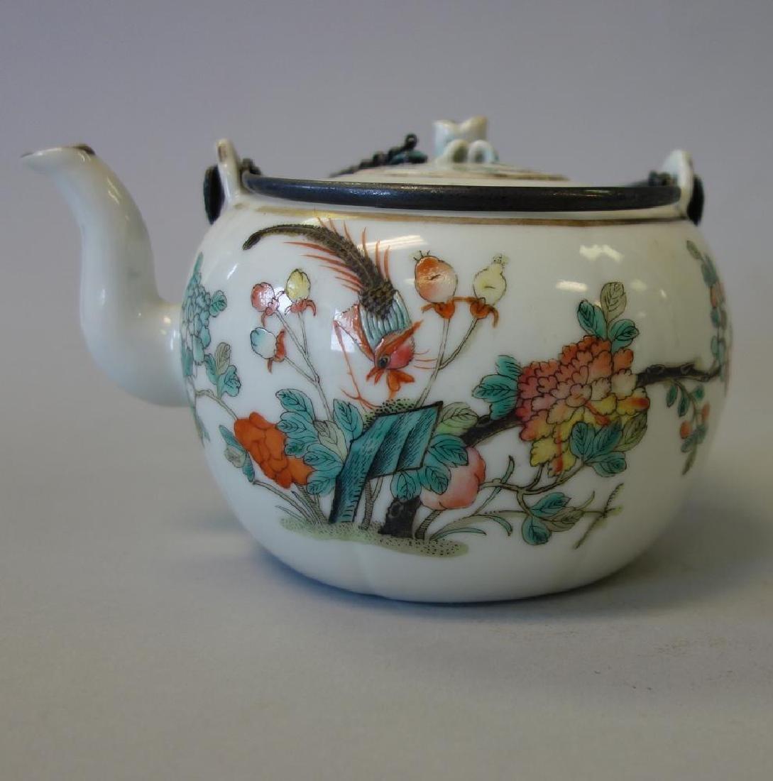 19thc Chinese Famille Rose Enamel Teapot - 2
