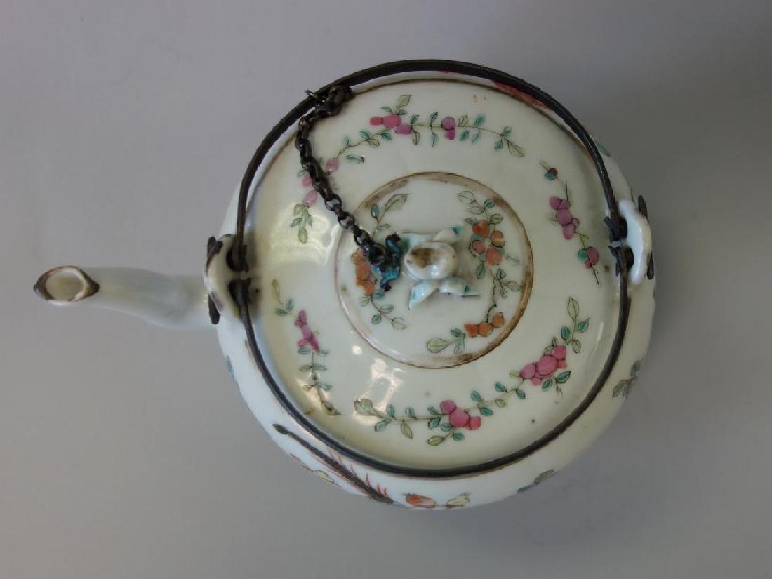 19thc Chinese Famille Rose Enamel Teapot - 3