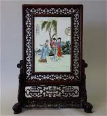 Chinese Porcelain & Rosewood Carved Table Screen
