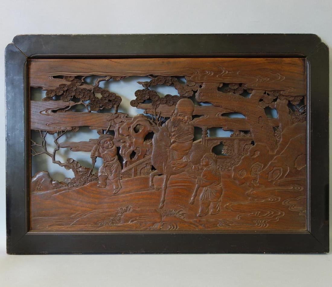 Chinese Carved Wood Panel / Screen, Dbl Sided