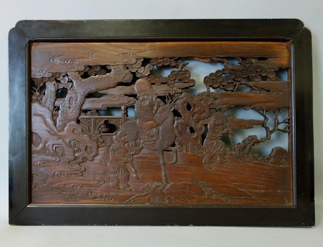 Chinese Carved Wood Panel / Screen, Dbl Sided - 2