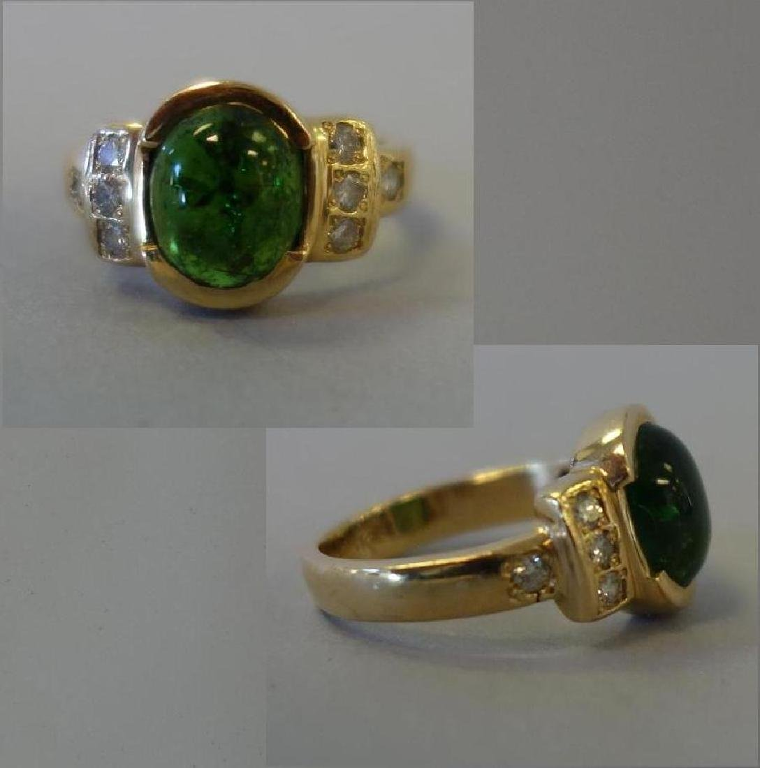 Green Tourmaline & Diamond 14K Gold Ring