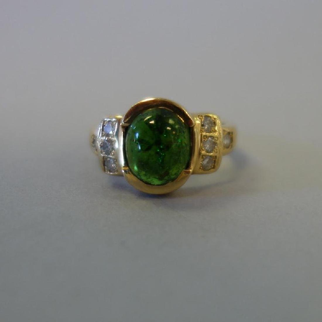 Green Tourmaline & Diamond 14K Gold Ring - 2