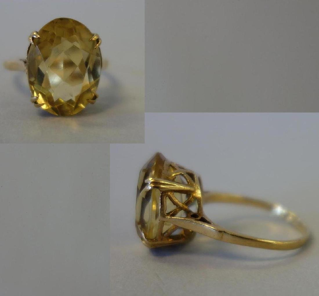 14K Gold & Citrine Ring, 6 Carats, Birmingham UK