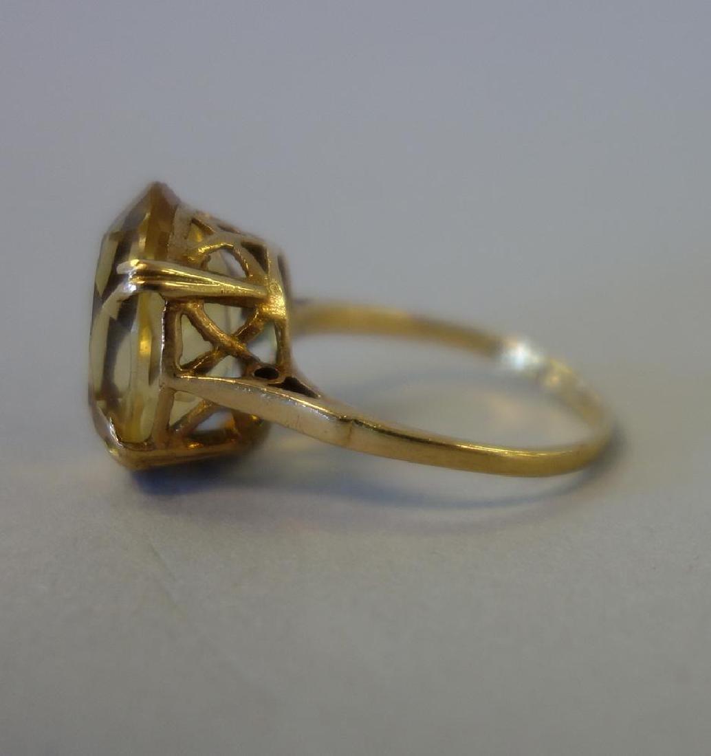 14K Gold & Citrine Ring, 6 Carats, Birmingham UK - 3