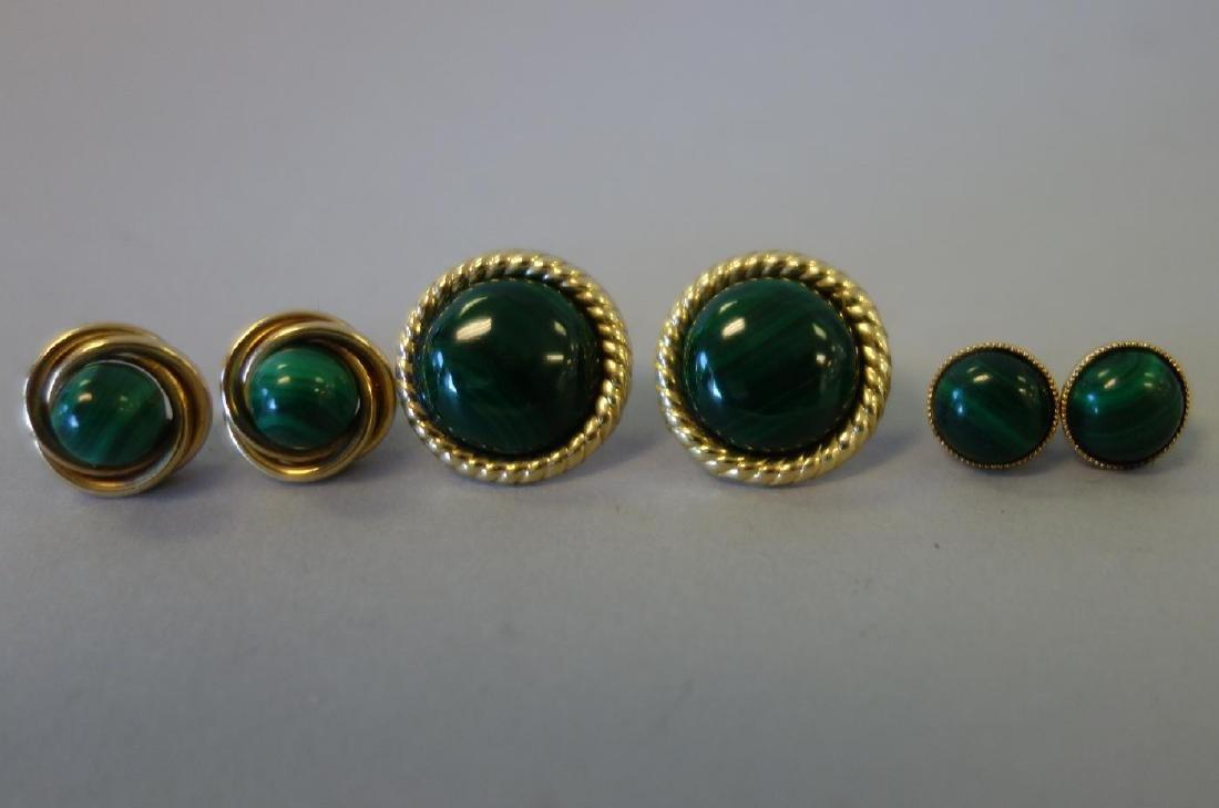 3 Pair of Malachite Earrings in 14K Gold
