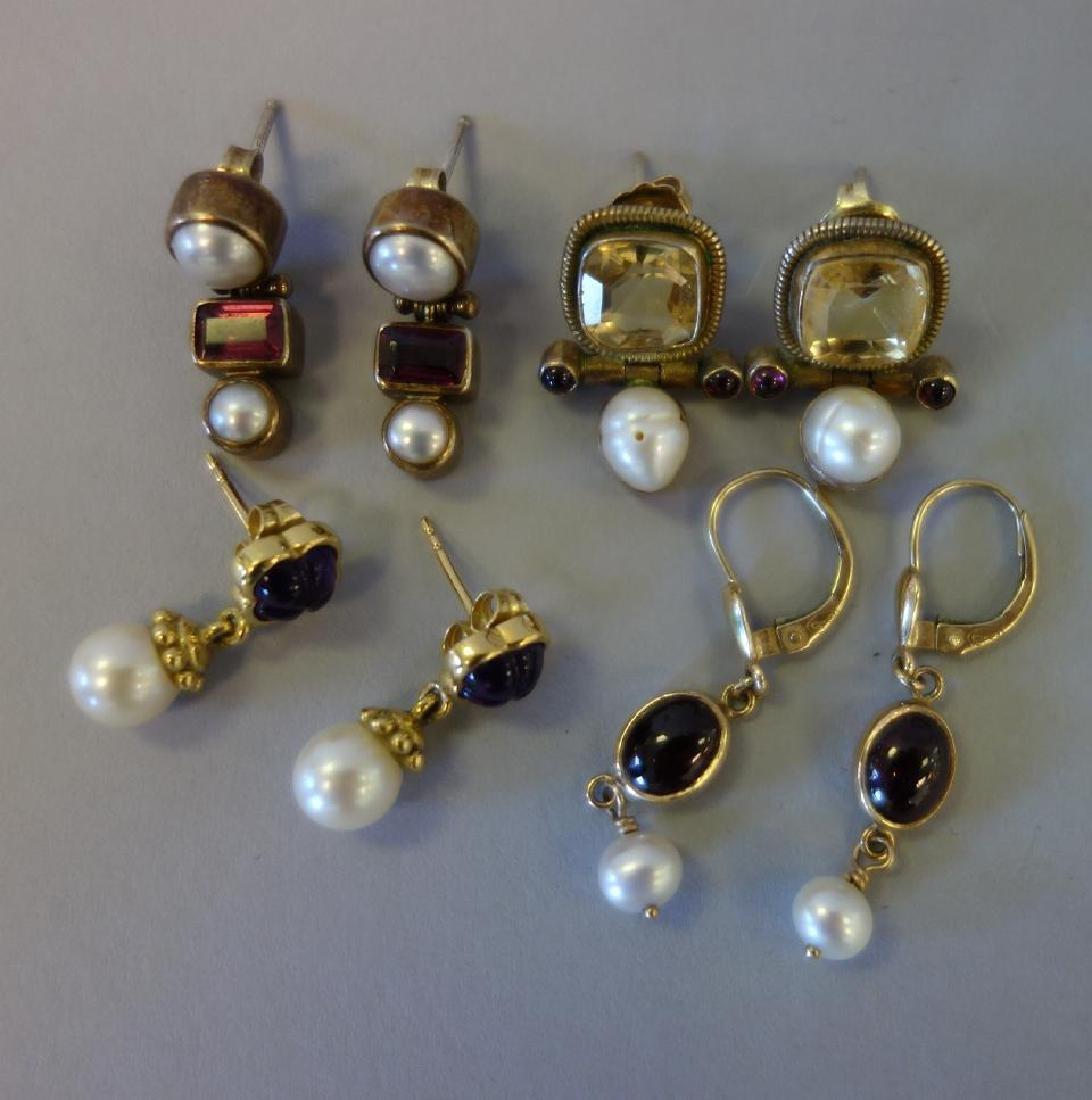 4 Pair, Gemstone Earrings 18K, 14K & Sterling