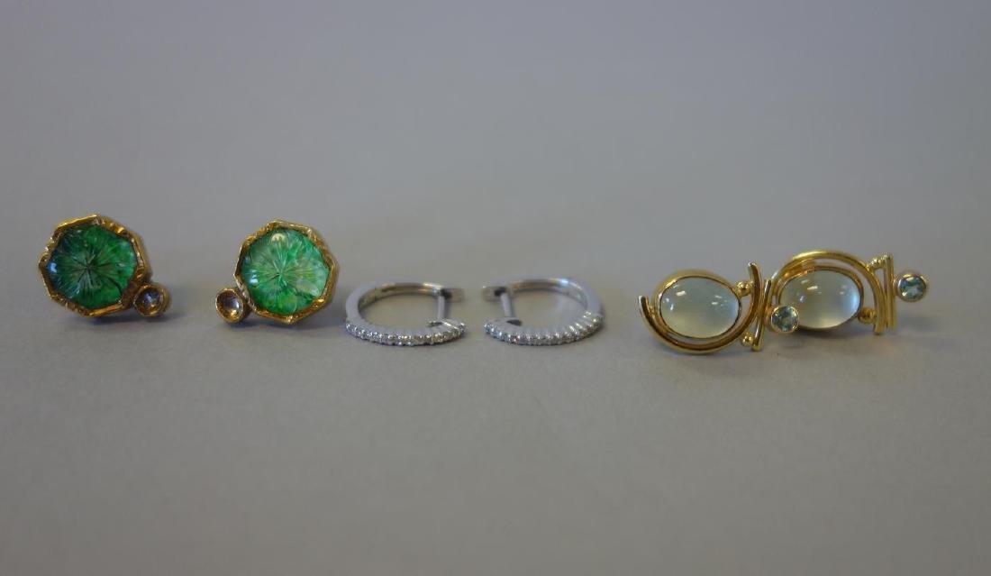 3 Pair of Earrings, Diamond, Moon Stone, Intaglio