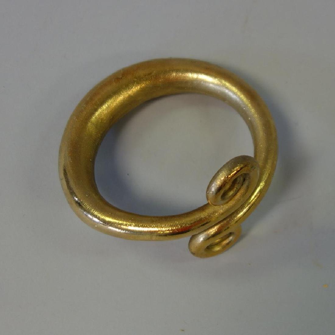 Danish Gilt Metal Cuff Bracelet, Signed Jan - 3