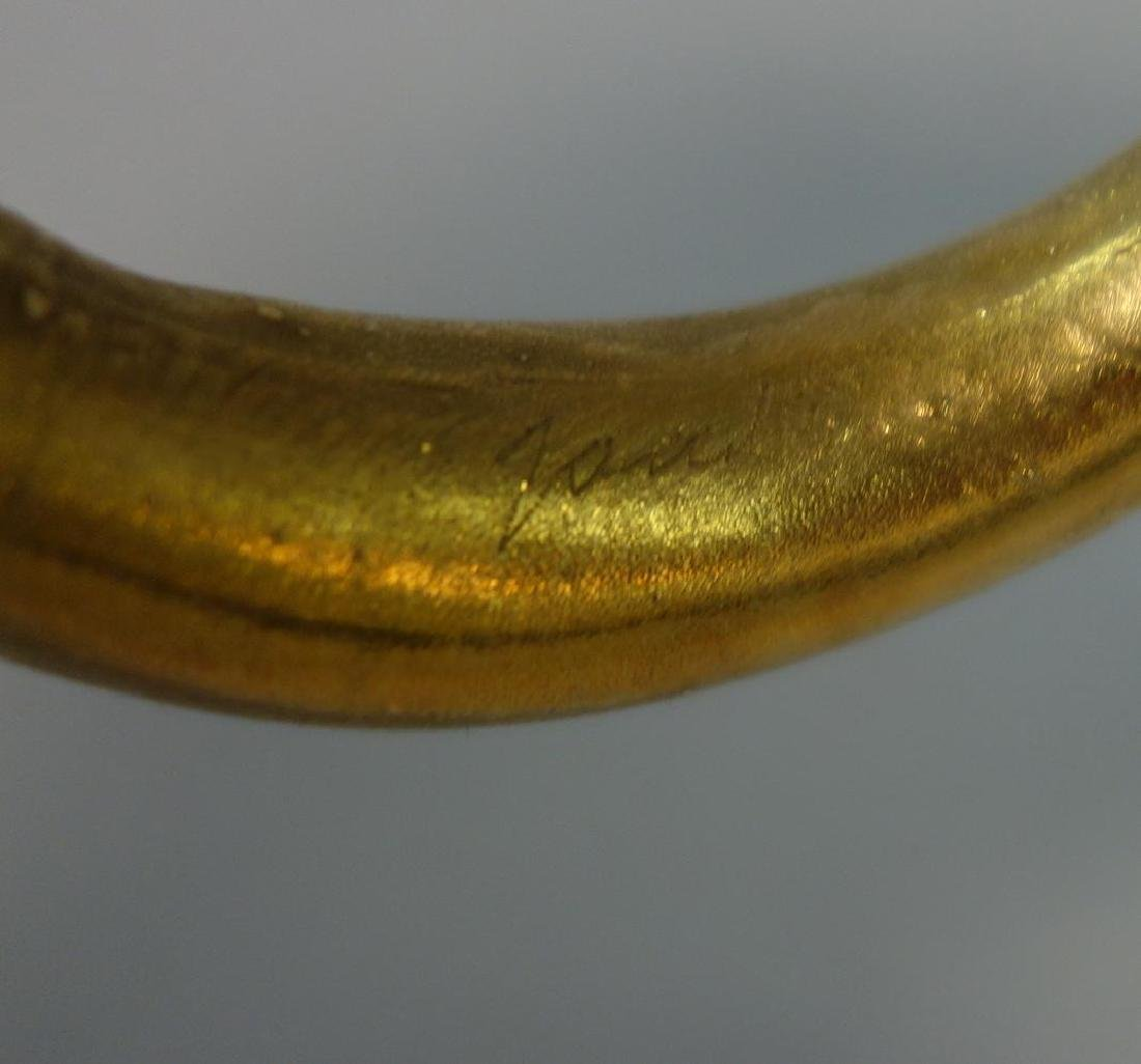 Danish Gilt Metal Cuff Bracelet, Signed Jan - 4