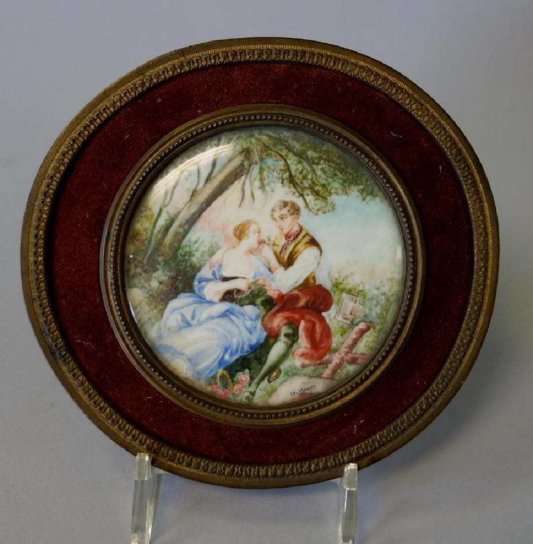 19thc Miniature Watercolor by Clo. Moret