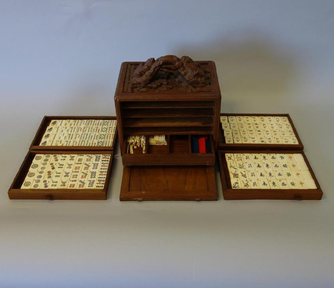 Chinese Mahjong Set in Carved Wood Case